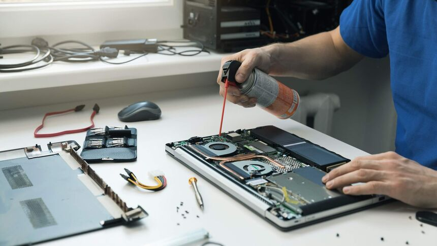 Compressed air is very useful to clean devices